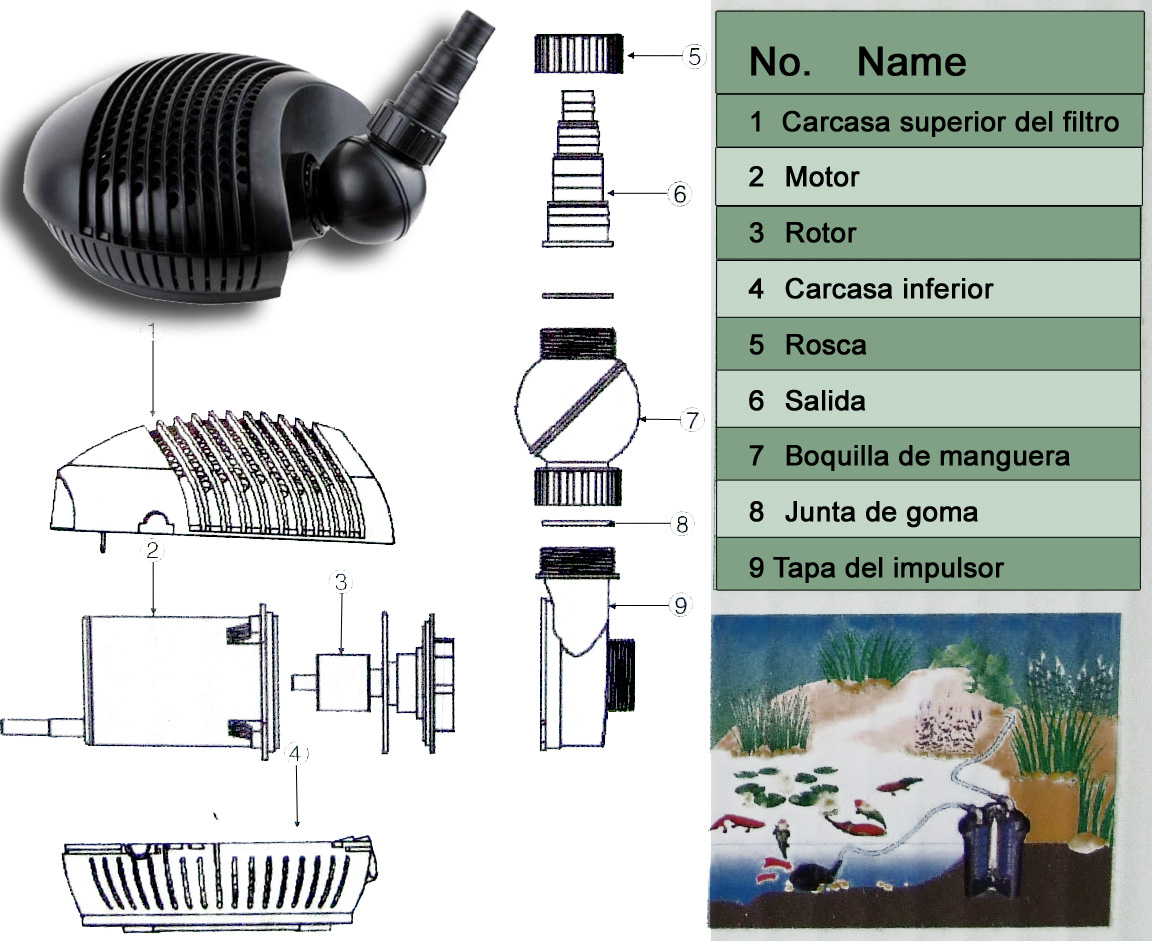 Bomba de agua cfp 8000 para estanques potencia de 70w 8000l for Accesorios para estanques