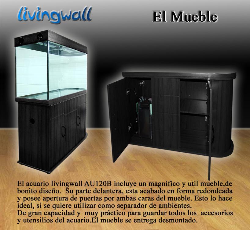Acuario panoramico pecera de 121 cm y 260 litros for Mueble para acuario