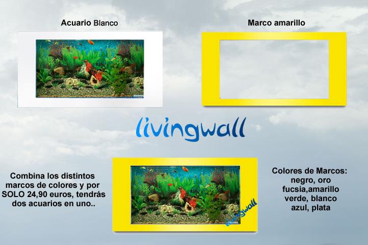 Acuarios de pared-pecera livingwall85. Color white fondo Hawai ...